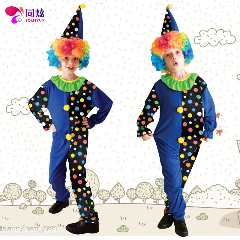 The same hyun blue clown halloween masquerade party performance clothing children suit male costumes props