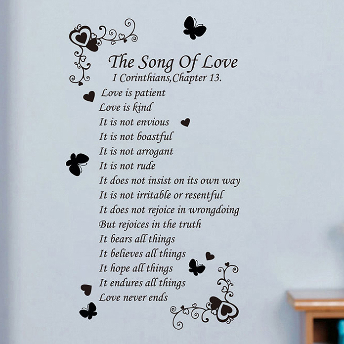Get Quotations The True Meaning Of Love Proverbs Send English Poems Is Patient Christian Wall Stickers
