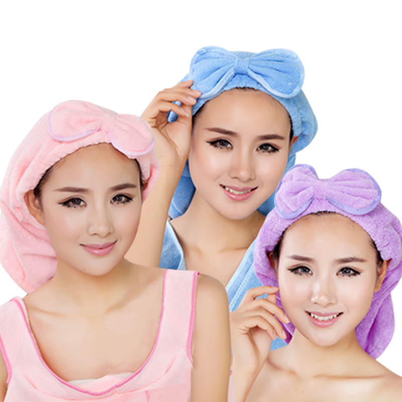 Thick absorbent dry hair bow hat baby universal adult children dry hair hat absorbent towel dry hair towel