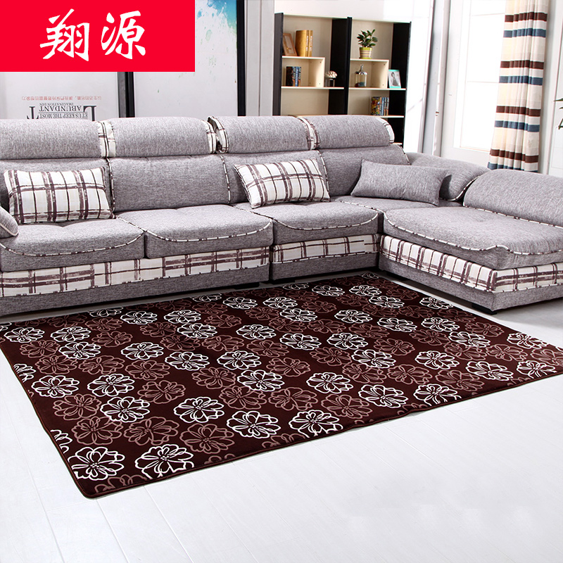 Thick coral velvet carpet modern minimalist bedroom living room coffee table rectangular windows and carpet sofa bed side over