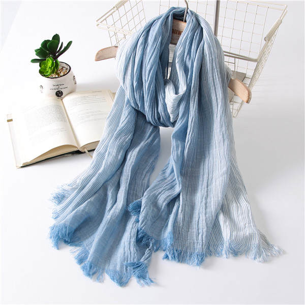 Thick cotton linen scarf scarves female long section of the spring and autumn paragraph solid literary japanese gradient silk scarf female wide