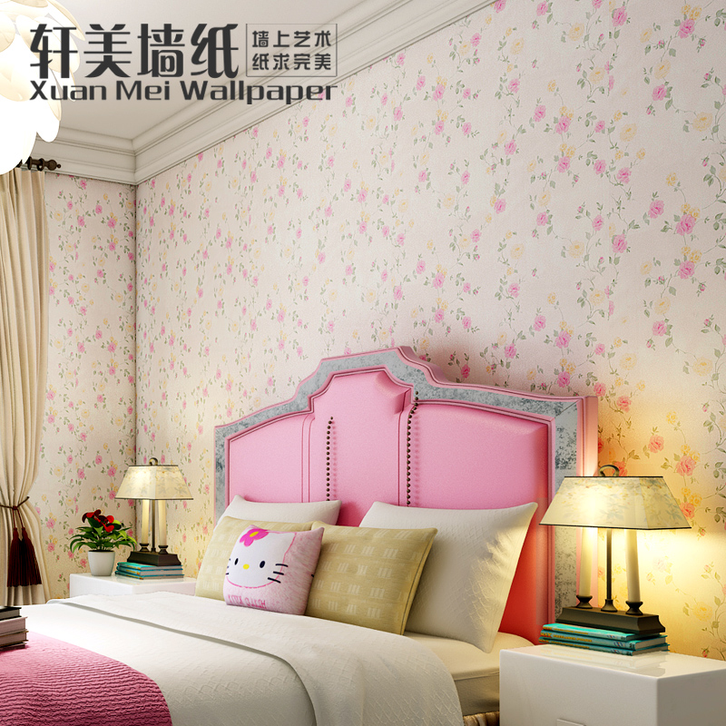 Thick pvc self adhesive romantic pastoral small floral wallpaper bedroom wallpaper waterproof stickers refurbished furniture