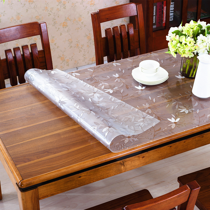 Thick transparent pvc plastic waterproof tablecloth tablecloth soft glass coffee table glass mat crystal plate coffee table mat mat across the heat
