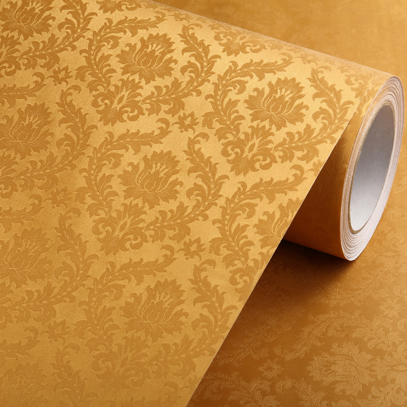 Thick waterproof european living room bedroom background wallpaper color equipment film pvc self adhesive stickers wallpaper european golden flower