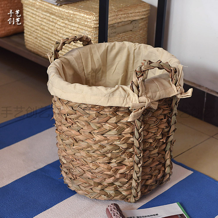 Get Quotations · Thickened Water Straw Storage Barrels Laundry Basket  Laundry Basket Storage Baskets Toy Basket Basket With Cotton