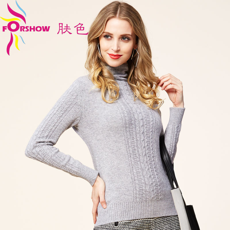Thicker section 2015 new piles collar pure mountain cashmere sweater women sweater with high collar hedging sweater hit bottom shirt short sweater