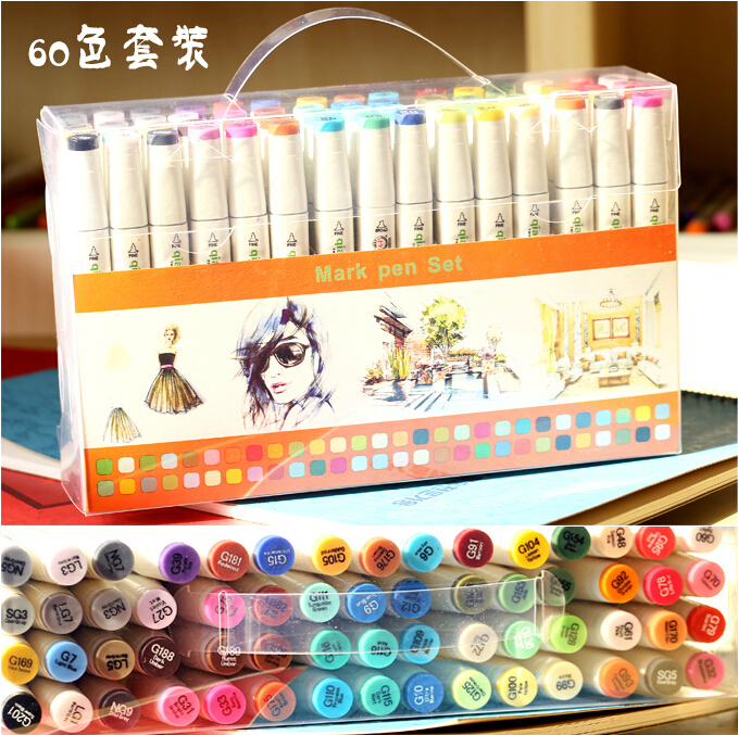 Thousands of color music headed alcohol oily marker pen marks pen set 60 color 80 color design white rod 1401