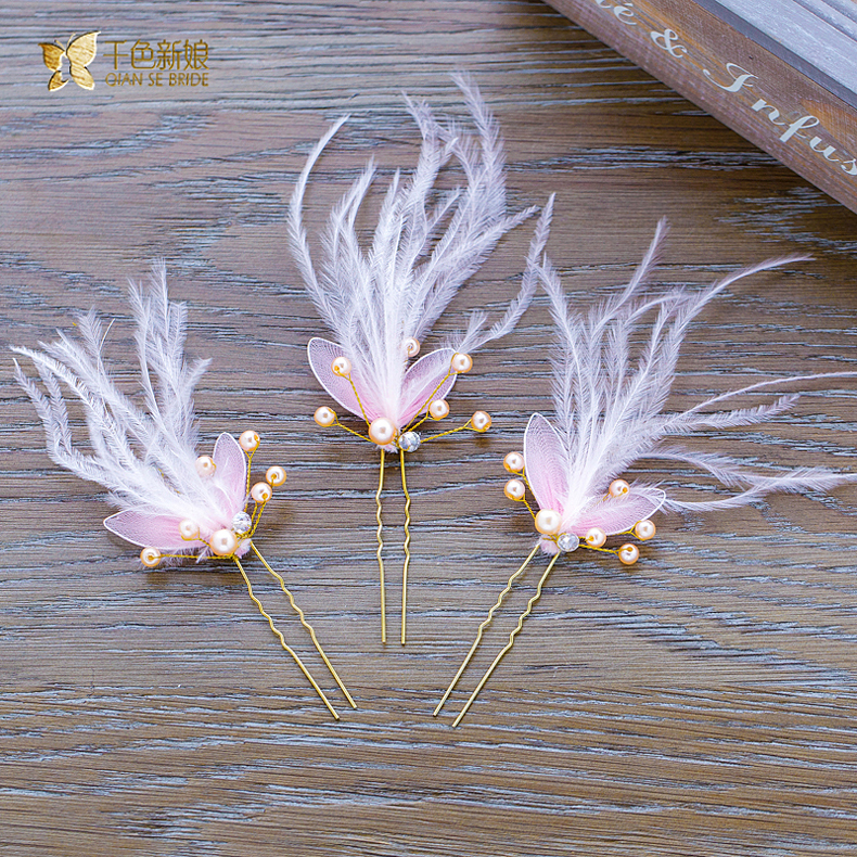 Thousands of colors bridal bridal headdress bob pink feather snow king sweet handmade wedding hair accessories wedding flower head