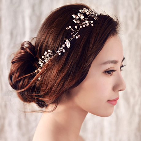 Thousands of colors bridal headdress short hair gel spot handmade rhinestone flower head ornaments korean hair jewelry pearl bridal jewelry accessories wedding soft goods