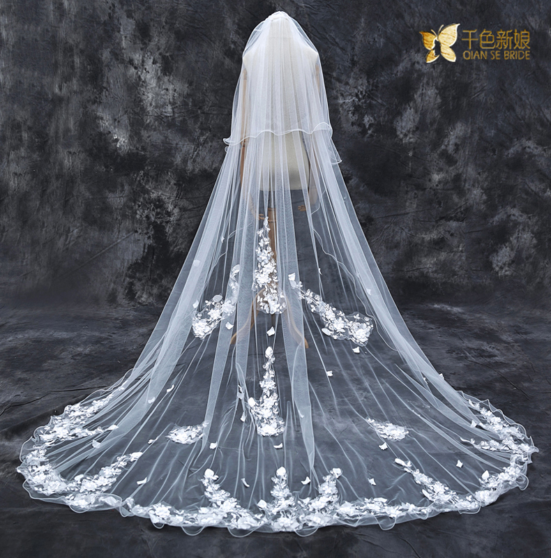 Thousands of colors bride shallow t1 of ecthelion korean long paragraph 3 milei si lace bridal veil new wedding veil trailing double