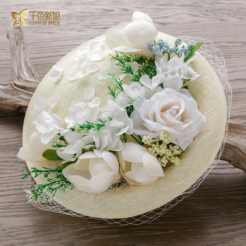 Thousands of colors the bride brown lin european artificial flowers bride photo headdress hat hat headdress wedding dress accessories
