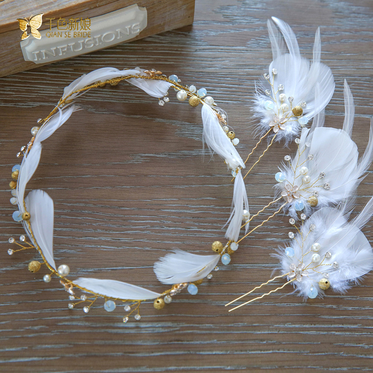 Thousands of colors the bride teana smart korean feather bridal tiara hair band hair accessories wedding jewelry wedding dress accessories