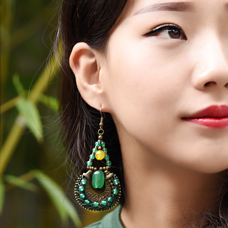 Thousands of trees vine original ethnic chinese style retro style handmade agate earrings handmade ethnic style earrings jewelry female