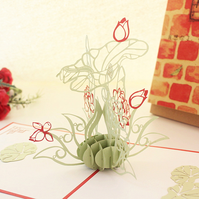 Three-dimensional lotus creative diy handmade three-dimensional paper sculpture greeting cards greeting card business birthday christmas ritual items