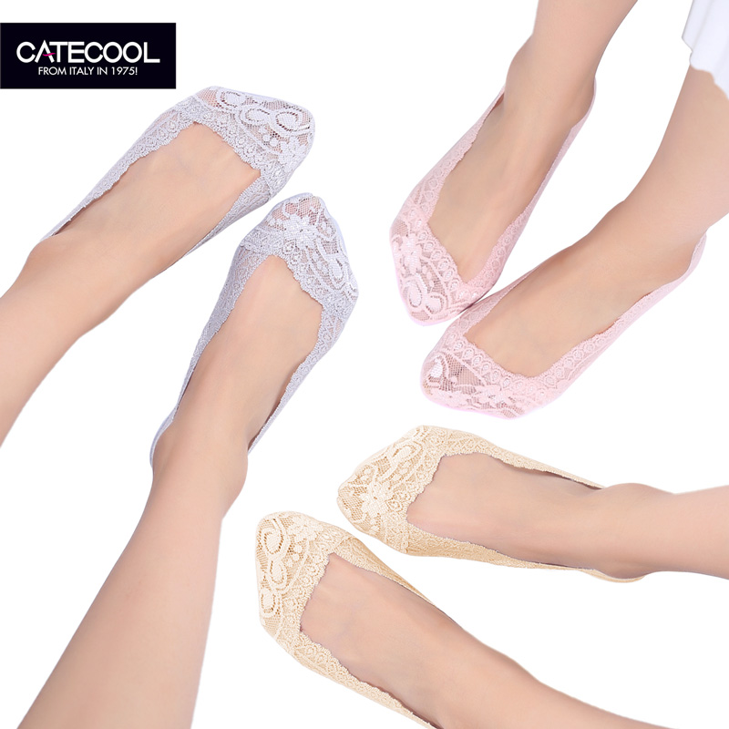 Three pairs of dress Catecool5 female seamless ice silk socks summer shallow mouth invisible socks slip silicone sleeve lace female socks