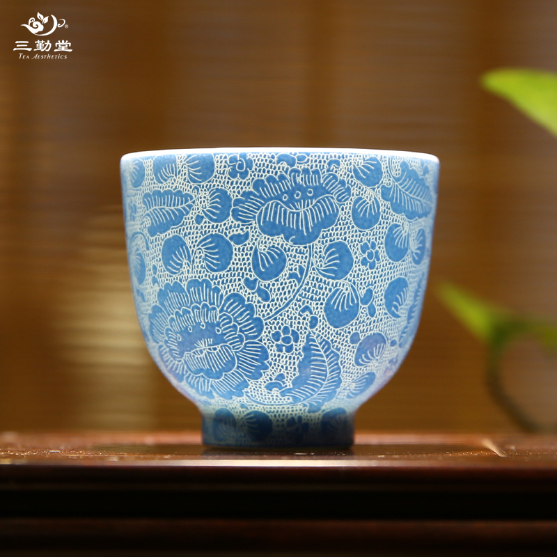Three qin tang tea cup jingdezhen ceramic tea cup kung fu tea handmade rolling road small cup cylinder cup chicken