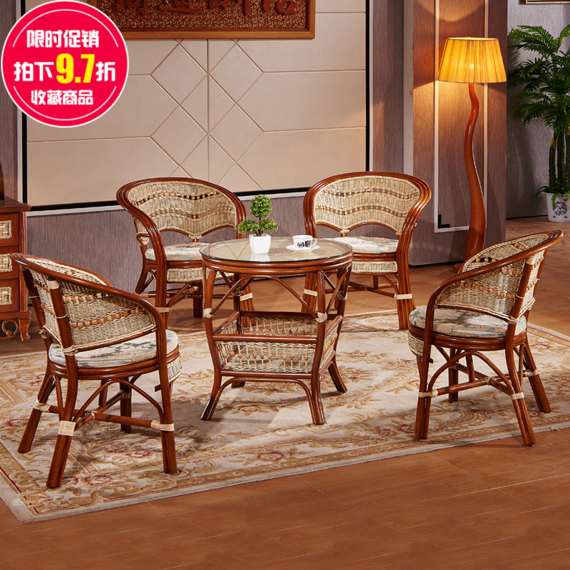 Three sets of combination really rattan wicker chair wujiantao large living room balcony rattan coffee table tea table chair lounge chair specials