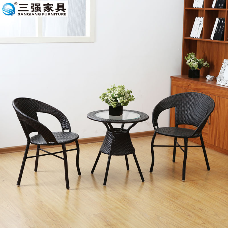 Three strong piece wicker chairs coffee table three sets of outdoor leisure rattan chair rattan chair balcony lounge chair combination rattan coffee table coffee table