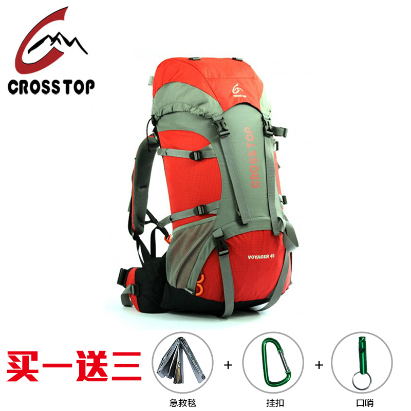 Through crosstop voyager 45l backpack mountaineering bags outdoor camping camping package