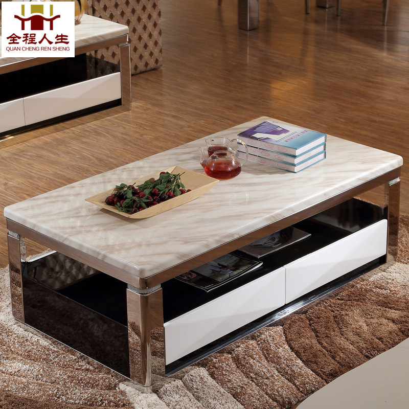 Throughout the life of furniture minimalist modern european stainless steel marble coffee table tv cabinet combination living room tea table