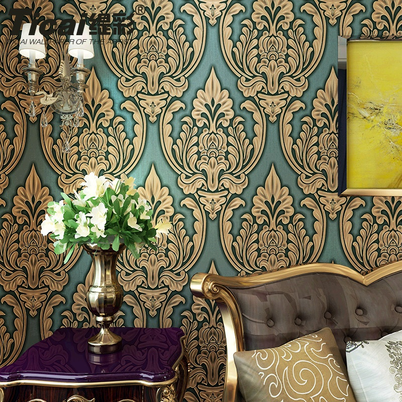 Ti color european 3d relief gilt damascus nonwoven wallpaper bedroom living room tv backdrop wallpaper
