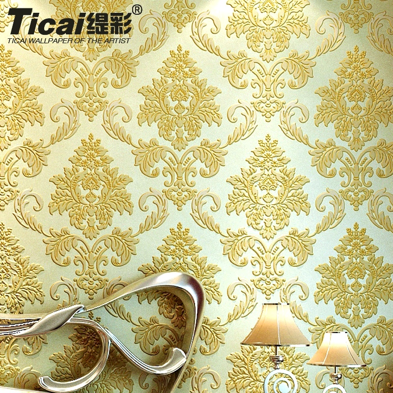 Ti color european retro 3d stereoscopic relief damascus nonwoven wallpaper bedroom wallpaper background wallpaper the living room tv