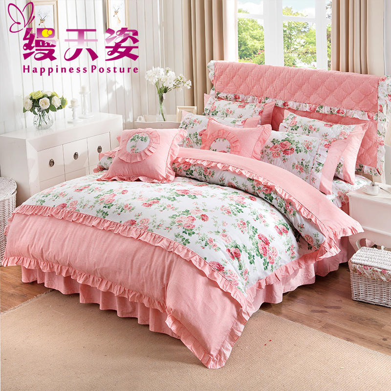 Tianzi unadorned cotton quilted bed skirt princess lace korean family of four cotton quilt plus cotton bedspread 1.81.5m