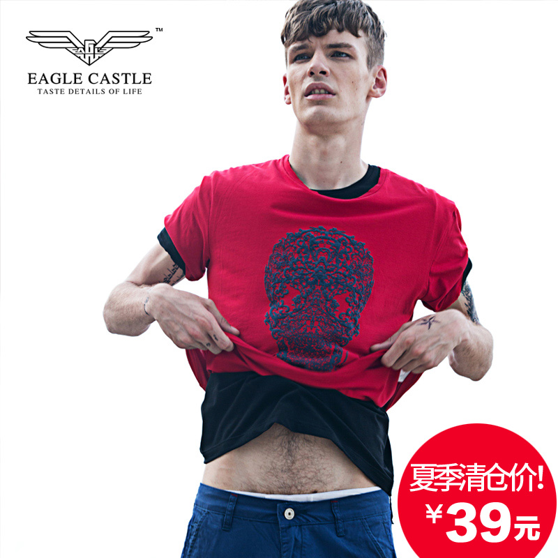 Tide brand eagle castle series influx of men short sleeve t-shirt slim korean version of the skull and crossbones printed round neck stretch t-shirt men