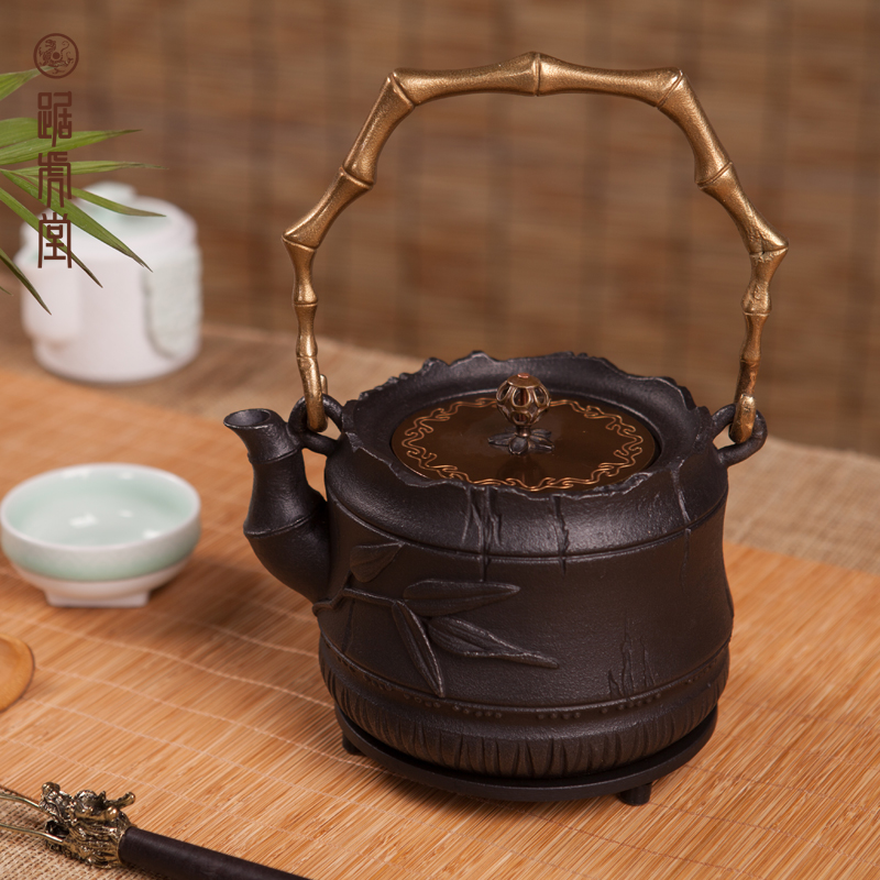 Tiger hall squat gilt bamboo yang raw uncoated cast iron pot teapot boiling kettle lid cast iron tea pot free shipping