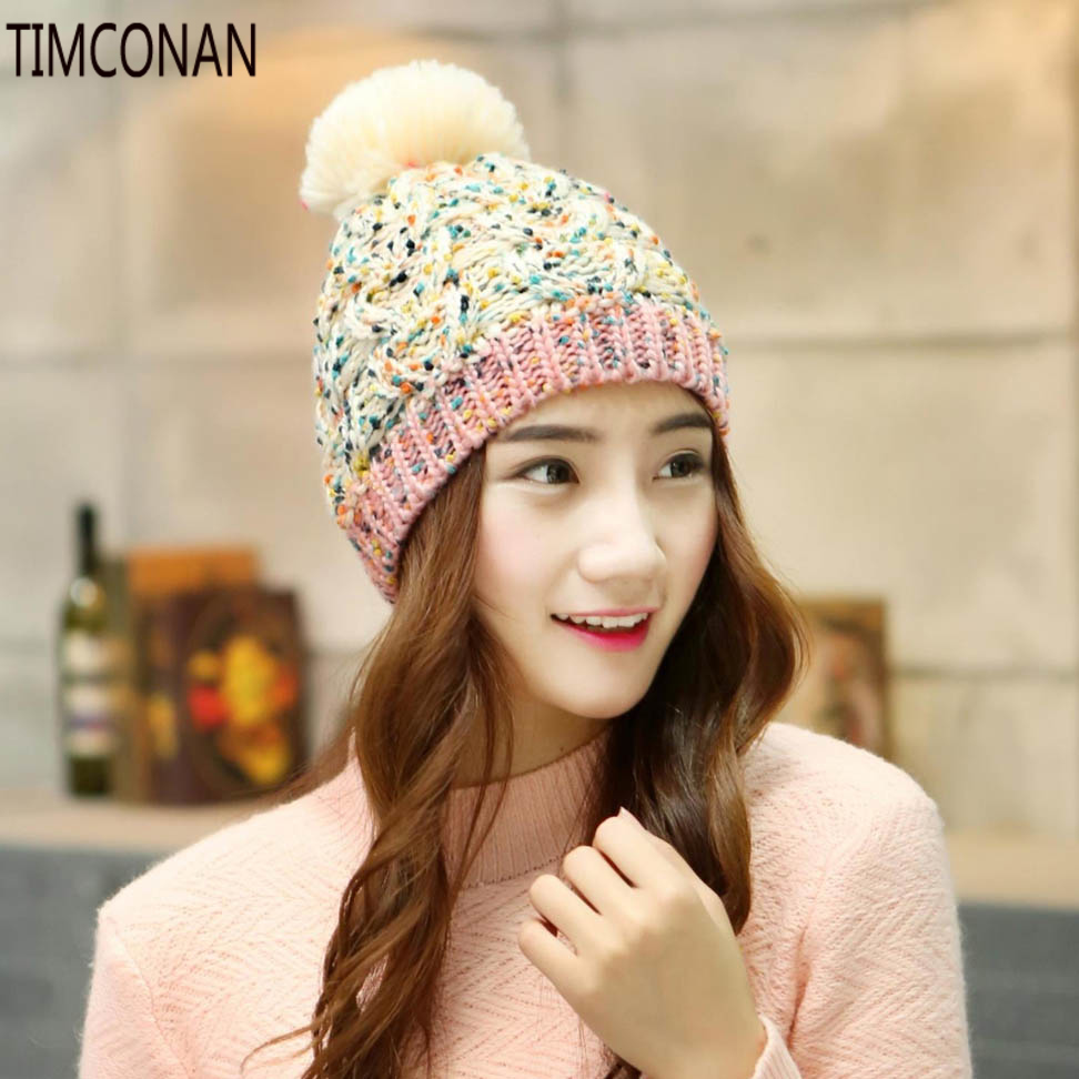 Timconan autumn and winter hat female winter hat wool hat lady warm winter hat knitted hat female autumn