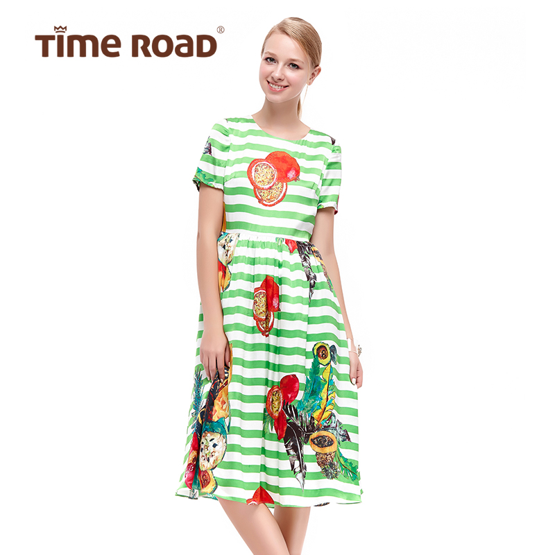 Time road/soup camino e18 tropical resort style fruit pattern stripe short sleeve dress 213193227