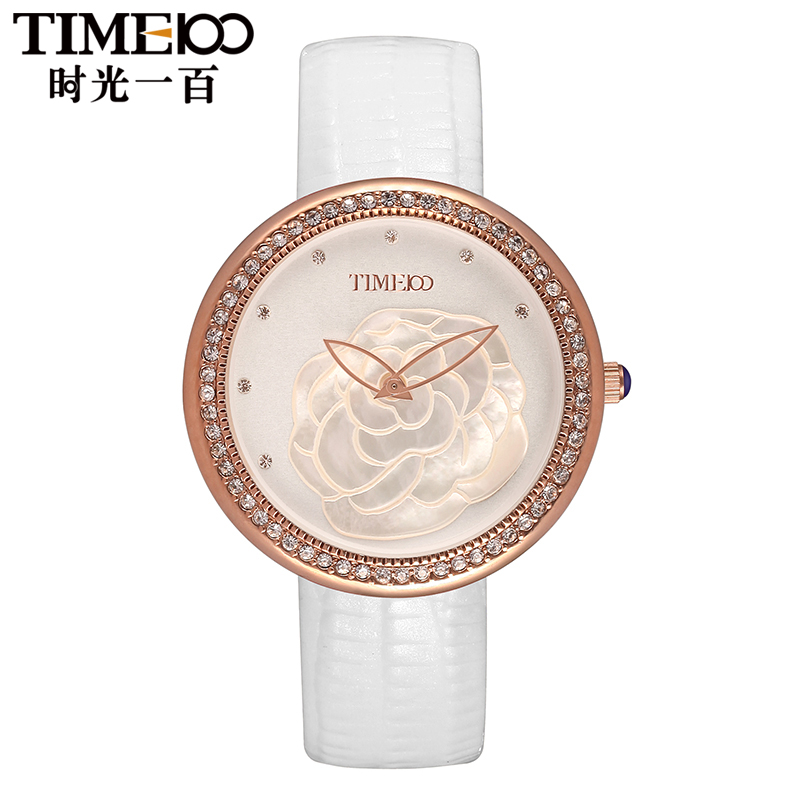Time100/time one hundred korean version of flash diamond camellia leather quartz watch ladies watches fashion ladies watches wrist
