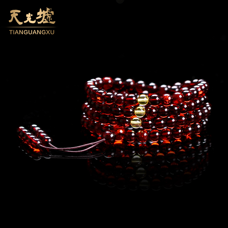 Tin kwong hui natural amber blood amber bracelets amber prayer beads bracelet ms. 108é¢hand string of female models with a certificate