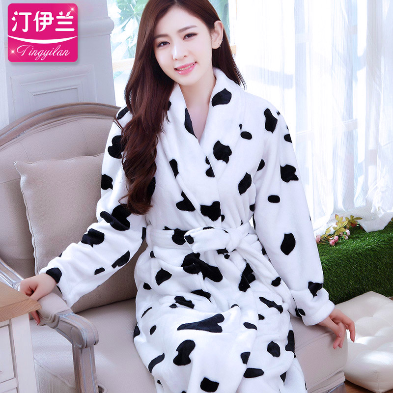 Ting yilan ms. autumn and winter thick flannel long sleeve pajamas nightgown lovely bath robe female coral velvet cows