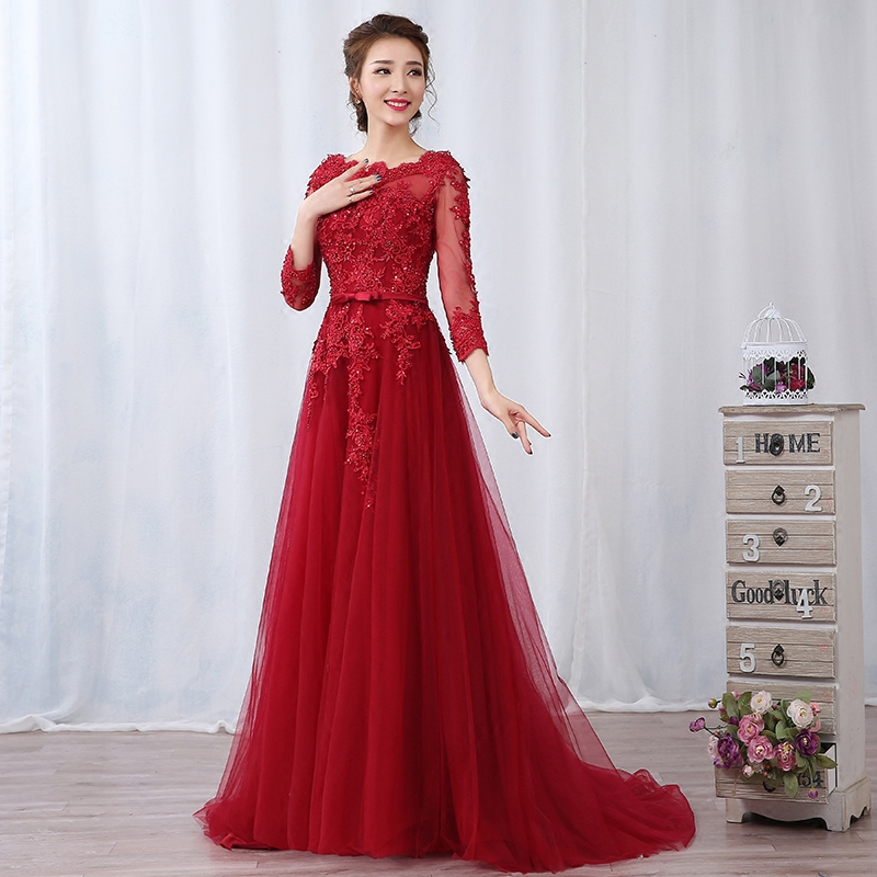 Toast clothing 2016 new bride wedding dress party annual meeting banquet evening dress long section of lace evening dress red dress