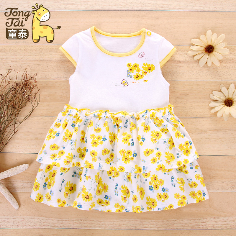 Tong thai summer baby princess dress baby cotton summer girls short sleeve cotton summer dress ladies fan