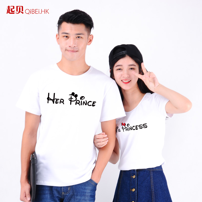 Tony played lovers summer 2016 new t-shirt female korean version of the influx of letters printed cartoon princess prince short sleeve men