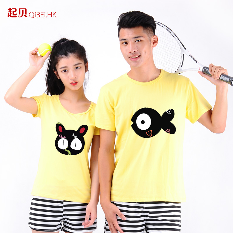 Tony played lovers summer 2016 new t-shirt korean version of the red creative cute cartoon fish and cat pattern t-shirt female