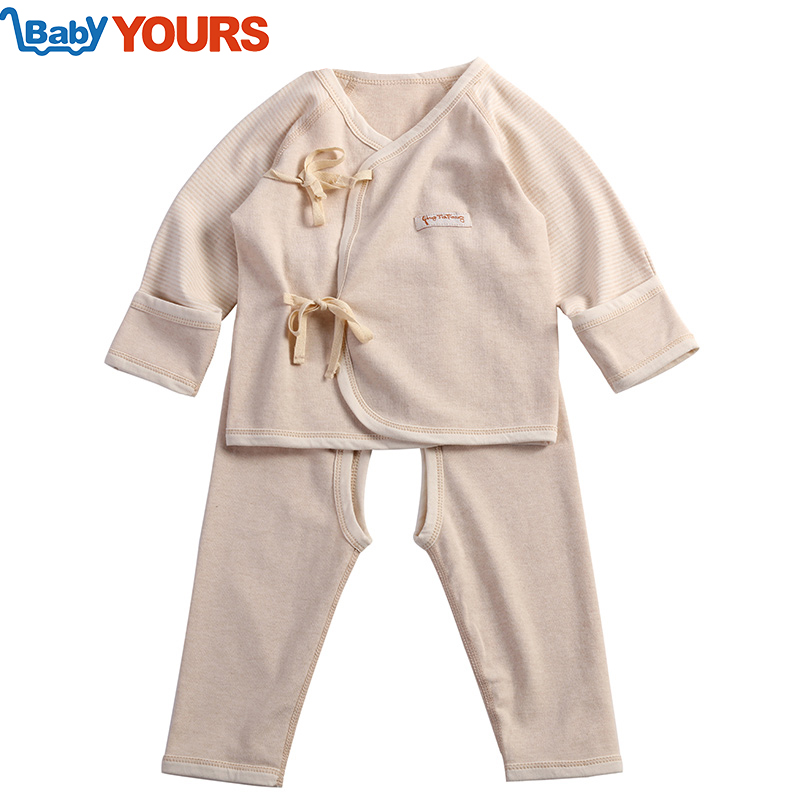 Tony's excellent spring and summer children's natural colored cotton underwear newborn baby cotton sack suit paragraph two