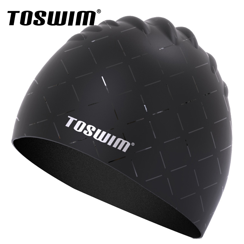 Toswim billiton wins swimming adult men's large swimming cap comfortable waterproof silicone swim cap naples head professional black and silver