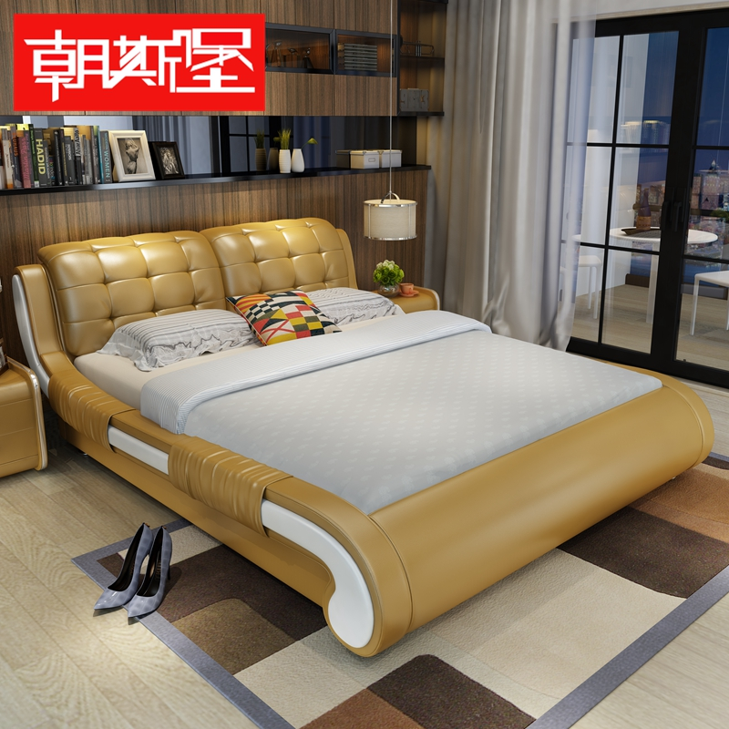 Toward fort minimalist modern small apartment leather bed leather bed bedroom 1.5 m 1.8 m double marriage bed leather bed