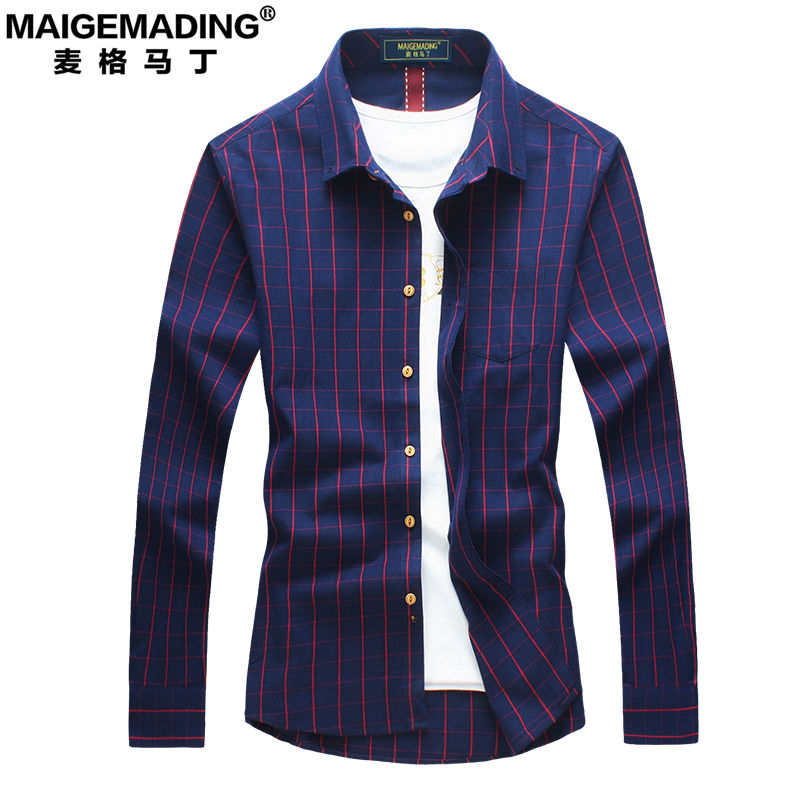 Tracy martin men's fall men's casual shirt slim plaid shirt male cotton shirt male models thick coat