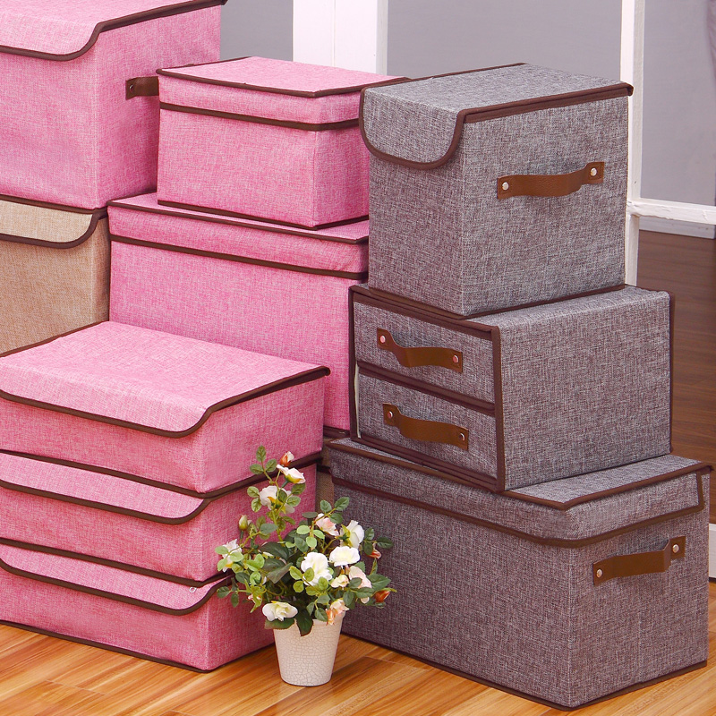 Traders beautiful high-quality color linen storage box clothing storage box folding clothes storage box toy storage box