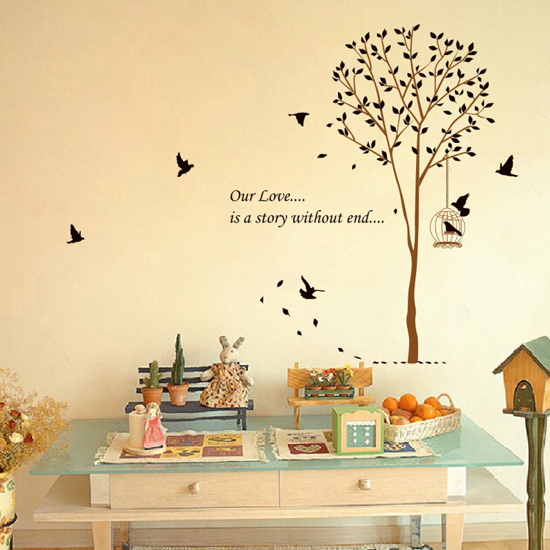Tree birdcage wall stickers tree decoration wall stickers romantic bedroom living room sofa tv wall background wall sticker
