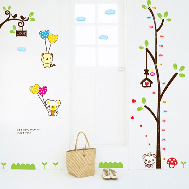 Tree height stickers cartoon children's room bedroom decor nursery wall stickers removable wall stickers for men and women
