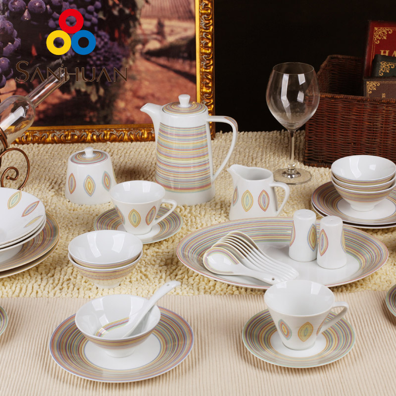 Tricyclic 38 head of european porcelain ceramic dishes and creative dishes ceramic dishes suit cutlery sets golden years