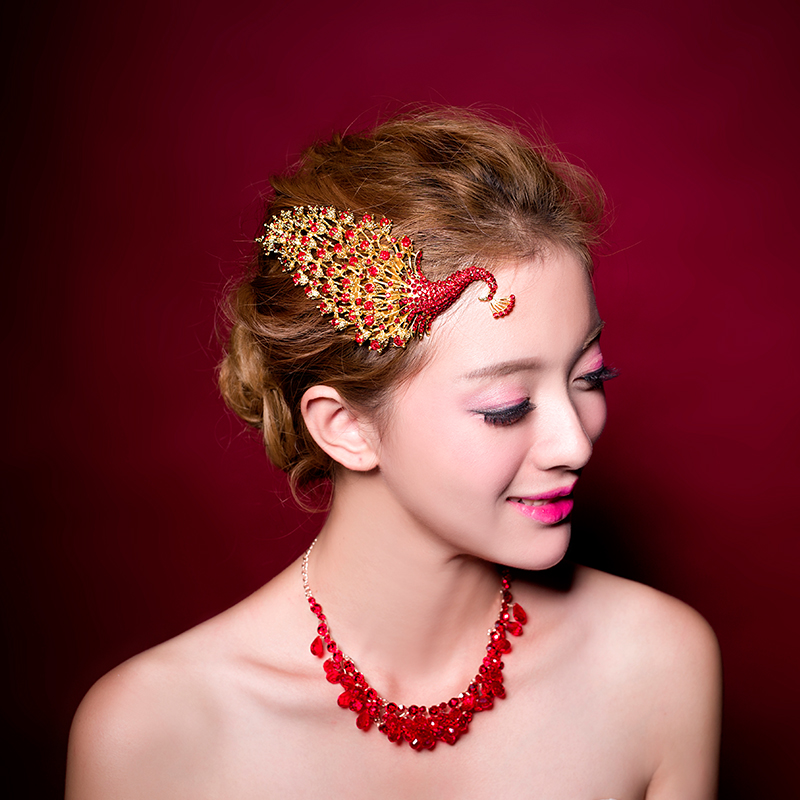 Tsao wedding dress new classic design classic red rhinestone bridal tiara crown golden phoenix peacock