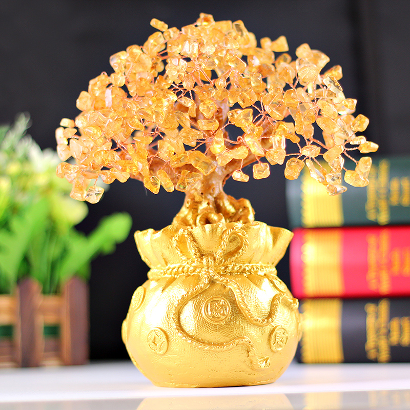 Tsz edge hall shake the money tree gift shop opened lucky citrine crystal tree pachira tree ornaments ornaments office