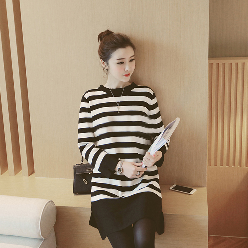 Tsz yan maternity spring korean version of the bow hollow round neck striped knit dress pregnant women YLYM6115