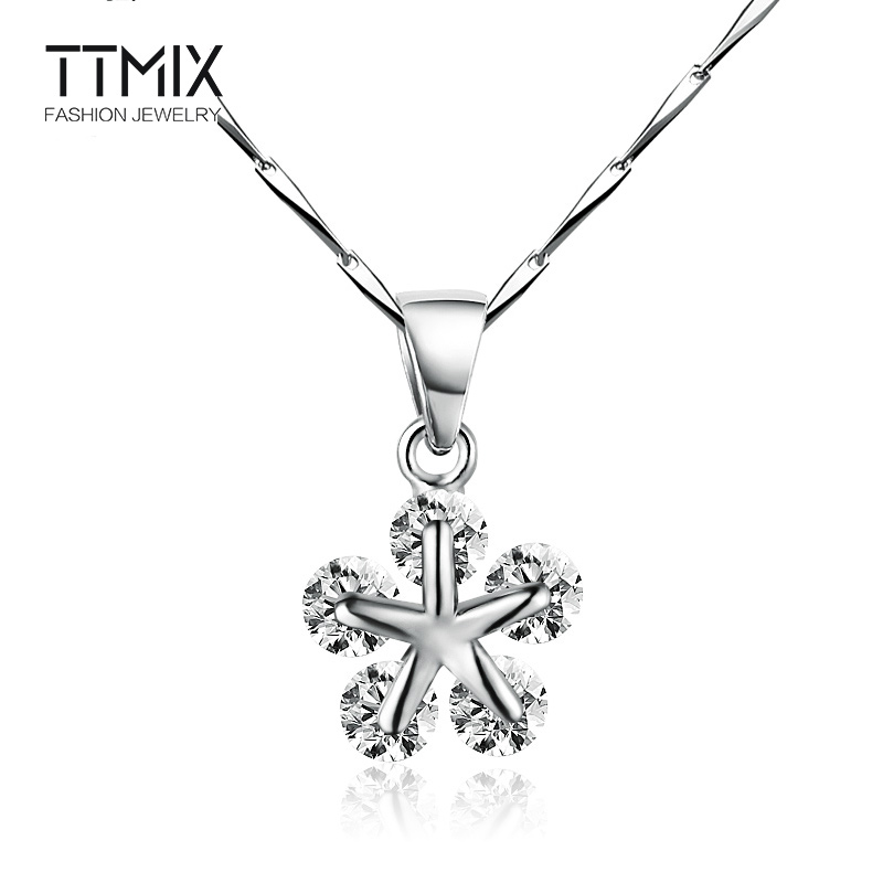 Ttmix sweet snowflake necklace female fashion simple korean version of the wild summer 925 silver oval chain pendant accessories